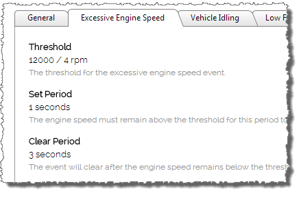 Screenshot showing detailed configuration settings for excessive engine RPM