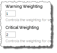 Screenshot showing different weightings for warning and critical levels for a given metric