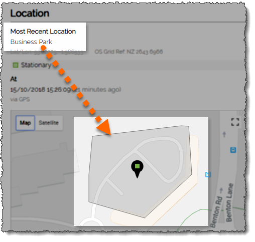 Screenshot showing how a geofence gives a place of interest a recognisable name