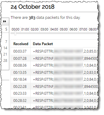 Screenshot showing raw data received from a device