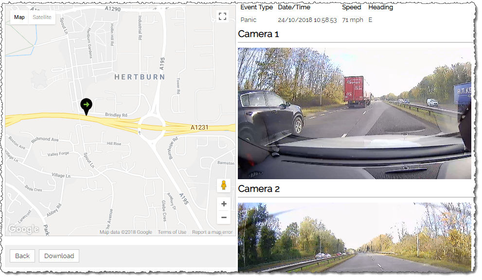 Screenshot showing vehicle location on a map synchronised with video footage from two cameras
